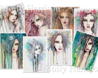 Set of 8 prints - 5 x 7 - Abstract Modern Portrait Series - Molly Harrison Fantasy Art