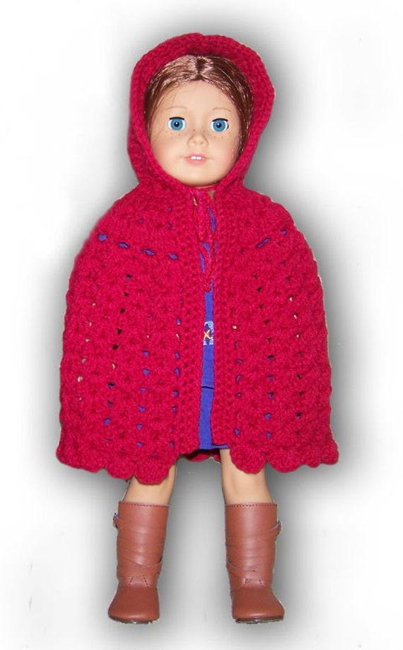 Crochet Doll Cape Pattern : Hooded Cape Crochet Pattern Fits American Girl or 18