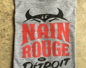 Le Nain Rouge Detroit T-Shirt Black and Red on Heather Gray - New for 2015! (Sizes: XS,S,M,L,XL,2XL)