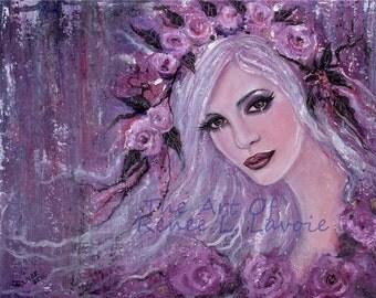 Lieselotte abstract portrait floral  print  by Renee L. Lavoie
