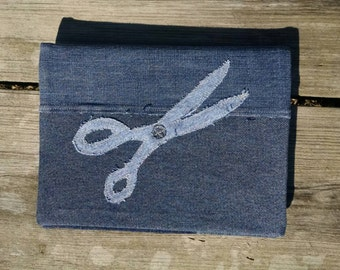 Recycled denim Notebook Scissors Applique eco friendly