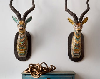 African Plains (Impala) Faux Taxidermy Antelope Head Metal Wall Sculpture