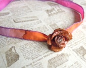 Real Rose Necklace, Pink, Genuine Rose, Sterling Silver, Silk Ribbon