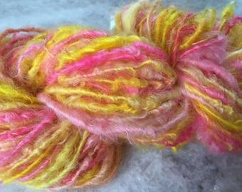 Art Yarn Handspun -TROPICAL FRUIT- Textured, Bulky, crochet,weaving, knit, craft supplies,  doll hair 62yds