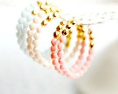 Pastel and Gold Beaded Hoops