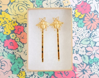 Bee's Knees Little golden Bee Bobby Pin set of two