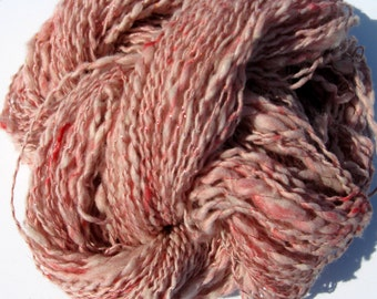 Handspun Alpaca and Tussah Silk Yarn for Knitting, Crochet, and Weaving, Pink and White, Thick and Thin, Slub Yarn, 174 yards