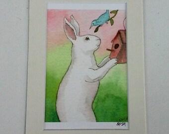 Blue Bird House - Small Archival Fine Art Print