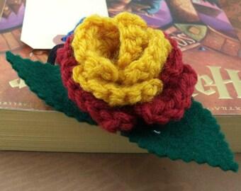 Crocheted Rose Ponytail Holder or Bracelet - Red and Gold (SWG-HP-HWGR02)