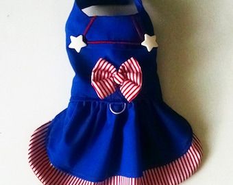 Dog Dress Organic Cotton Sailor  Nautical Harness Dress for a Yorkie Chihuahua ShihTzu Poodle Pomeranian