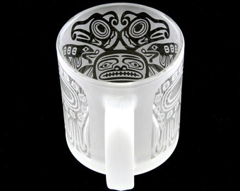 Thunderbird - 13 oz Coffee Mug - Frosted Style - Etched Glassware - Custom Made to Order