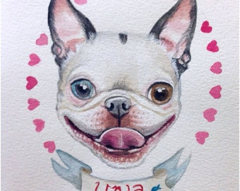 Commissioned Watercolor Painting Pet Portrait