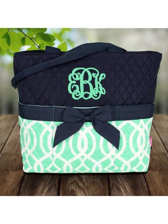 new 3 piece mint vine diaper bag set includes name or. Black Bedroom Furniture Sets. Home Design Ideas