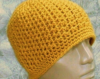 Mustard yellow crochet beanie hat, skull cap, yellow gold hat, toque, ski snowboard, biker hiking, skateboard, mens womens hat, chemo cap