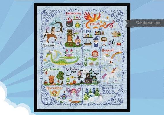 Magical Creatures Calendar sampler - PDF cross stitch pattern
