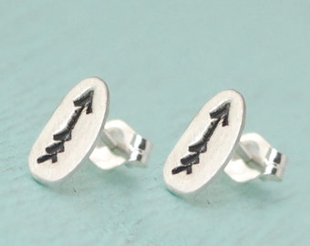 MAKE A MARK stud earrings -  sterling silver posts handmade and illustrated by Chocolate and Steel