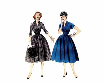 1950s Full Skirt Dress Butterick 7123 Vintage Sewing Pattern Size 13 Bust 31