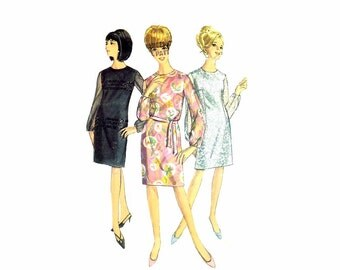 1960s Misses Sheath Dress Simplicity 6843 Vintage Sewing Pattern Size 12 Bust 32