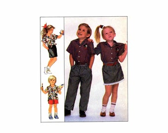 Girls and Boys Shirt Pants Shorts Skirt Simplicity 8464 Sewing Pattern Size 4 - 5 - 6