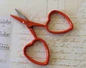 small orange embroidery scissors for cross stitch cutting tool with heart shaped handles little love