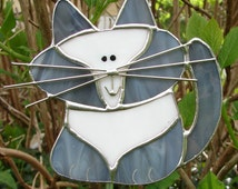Grey and White Cat Stained Glass Garden Stake