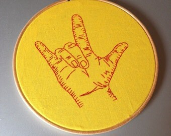 I Love You - hand drawn and embroidered sign language wall hanging
