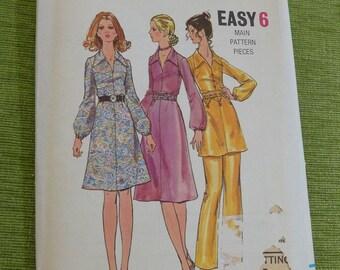 Vintage 70s Butterick 6071 Misses One Piece Dress and Pants Pattern size 12 B34 UNCUT