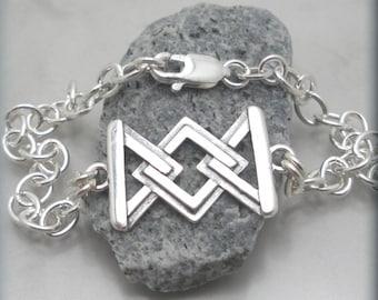 Geometric Triangle Link Bracelet Sterling Silver Chain Jewelry Oval Link Chunky Bracelet Modern (SB657)