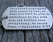 Military Dog Tag Necklace All Sterling Silver Custom Personalized Hand Stamped Dogtag