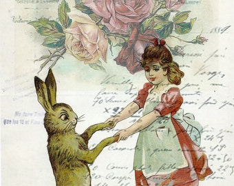 Easter rabbit and girl dancing*Pink roses on French script collage*Exclusivley ours