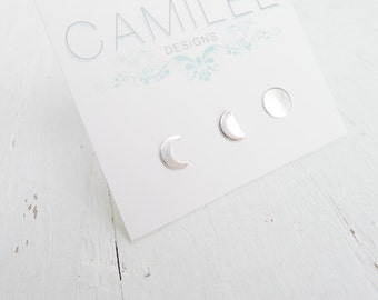 Moon Phase Earring Lunar Phases Earrings Sterling Silver Crescant Moon Post Earings Half Moon Studs Stud Ear rings Set of three