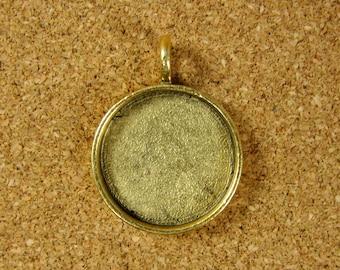 Medium Circle Bezel Frame Tray - Antiqued Gold Finish