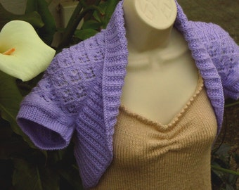 Lilac Knit Shrug with Elfin Lace, size: Medium  purple lilac bolero vest sweater shrug wedding bridal evening formal cover-up