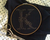 your letter - custom hand-embroidered monogram tea/dish/hand towel: white stitching on black towel