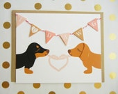 "Valentine's Day ""I LOVE U DAWG"" Heart Dachshunds Dogs Garland Blank Note Card with Envelope"