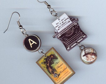 Alice in Wonderland Earrings - book Lewis Carroll quote I don't want to go among Mad People - Typewriter jewelry - book lover's readers gift