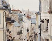 Paris Photography, Rooftops Photo, Paris Print, Neutral French Decor, White Wall Art, Paris Photo, 8x10 Print - Montmartre Mon Amour