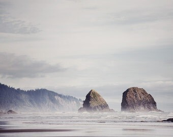 "Cannon Beach Photograph, Beach Decor, Ocean Photography, Landscape Photography, Ocean Art, Beach Wall Art, Nature ""West Coast Blues"""