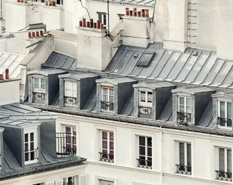 "Paris Photography, Large Wall Art Print, Paris Rooftops, Paris Decor, Architecture, Fine Art Photography, 8x10 ""Rooftop Soliloquy"""
