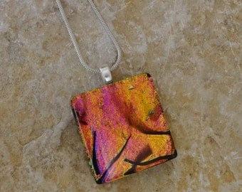 Pink and Copper Glass Pendant, Small Fused Glass Pendant,  Dichroic Pendant, Square Glass Pendant, Glass Slide - Sunset Color  Glass Pendant