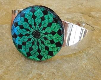 Dichroic Glass Cuff Bracelet, Bangle Bracelet, Geometric Glass Cuff Bracelet, Green and Blue Glass Bracelet, Starburst Bracelet