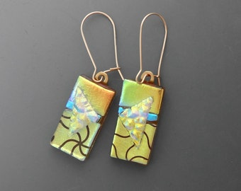 Gold and Blue Dichroic Fused Glass Earrings, Dichroic Fused Glass Kidney Earrings, Fused Glass Earrings, Gold Filled Kidney Earwires