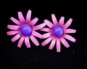 Too Cute Pair of Vintage Enameled Pink and Purple Flower Power Earrings