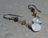Moonstone Earrings Sapphire Bead Earrings Oxidized Sterling Silver Earrings