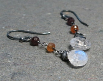 Moonstone Earrings Sapphire Beads Oxidized Sterling Silver White Gemstone Dangle Gift for Her