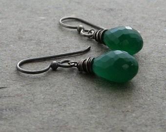 Green Onyx Earrings Wire Wrapped Briolette Earrings Oxidized Sterling Silver Earrings Minimalist Earrings