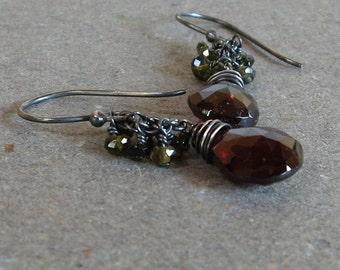 Garnet Earrings Green Tourmaline Cluster January Birthstone Oxidized Sterling Silver Earrings Gift for Her