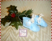 Baby's First Christmas, Boy, Handmade Baby Shoes, Blue with Bears