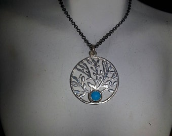 Sterling Silver Tree of Life with Sleeping Beauty Turquoise