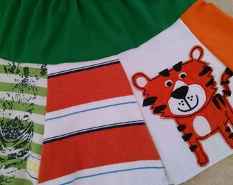 Boutique Custom Girl ZOO Knit Skirt! Sz 18/24/2T! 100% Recycled Materials! Eco Friendly! Upcycled!